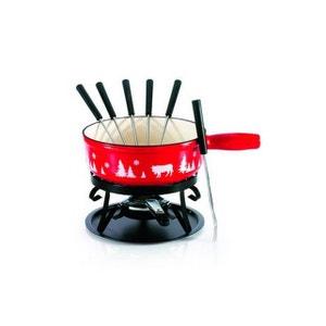 tableandcook - service à fondue 6 fourchettes alpestre rouge - serv.fonduefonte21pce TABLE&COOK