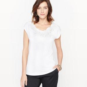 T-shirt guipura e algodão modal ANNE WEYBURN