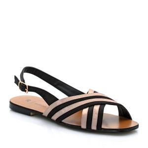 Sandálias rasas, exterior com presilhas em cetim PEQUENOS PREÇOS