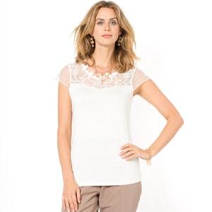 T-shirt z gipiurą i haftowaną siateczką ANNE WEYBURN