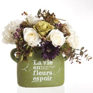 Composition de fleurs artificielles Roses - Vase en pierre - H. 36 cm ATMOSPHERA