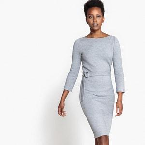 Robe maille tricot, ceinturée, viscose R essentiel