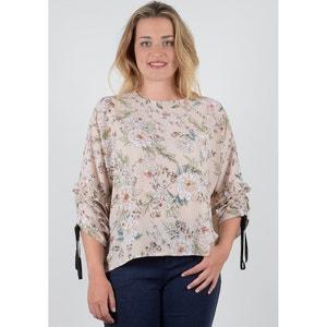 Blusa com gola redonda, estampado floral, mangas 3/4 GABRIELLE BY MOLLY BRACKEN