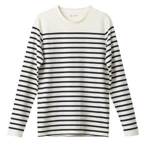 T-shirt manches longues col rond marinière 100% co R essentiel