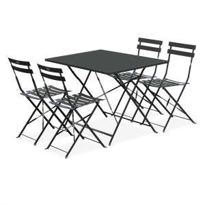 Salon de jardin bistrot pliable Emilia rectangulaire gris anthracite, table 110x ALICE S GARDEN