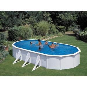 "Kit piscine acier ovale ""Atlantis"" blanche - 7.30 x 3.75 x 1.32 m H&j habitat et jardin"