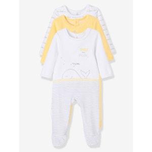 Lot de 3 pyjamas bébé en velours imprimé pressionnés dos VERTBAUDET