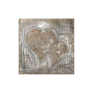 Tableau 2 CURS peinture sur plaque métal tons bruns, beiges et argentés 60x60cm PIER IMPORT