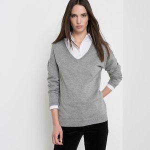 Jersey cuello de pico, algodón y cachemir R essentiel