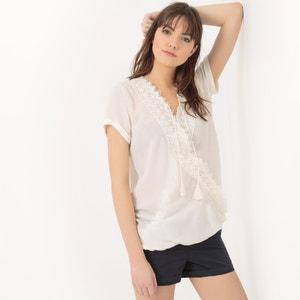 Short-Sleeved Lace Wrapover Blouse LE TEMPS DES CERISES