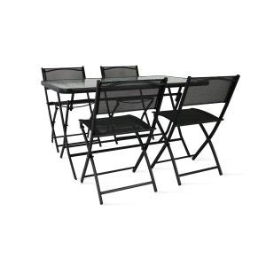 Table de jardin et 4 chaises pliantes en acier et verre BOUTIQUE-JARDIN