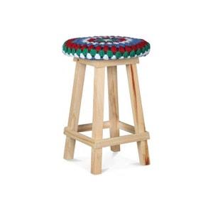 Tabouret Multicolore Crochet Bleu Et Vert En Bois D30xH45 JAMAICA DECLIKDECO
