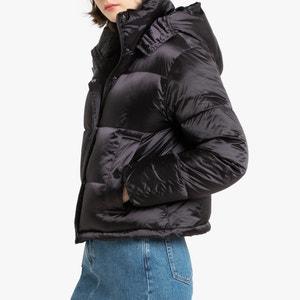 Chaqueta acolchada corta con capucha, de tejido perlante