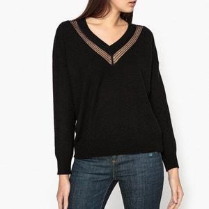 Pullover mit V-Ausschnitt, Ajour-Muster