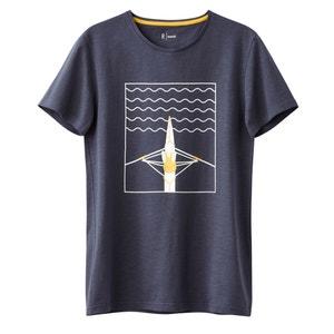 T-shirt com gola redonda estampada 100% algodão R essentiel
