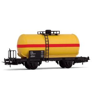 Véhicule pour circuit de train : Wagon citerne à deux essieux, livrée jaune/rouge JOUEF