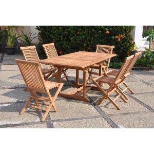 Kajang : Salon de jardin Teck massif 6 personnes - Table rectangle + 6 chaises CONCEPT USINE