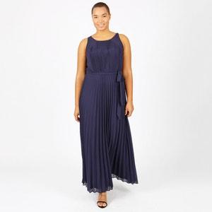 Długa gładka plisowana sukienka bez rękawów LOVEDROBE