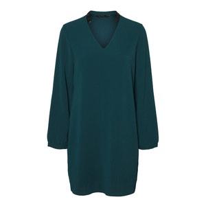 Rechte korte jurk met V-hals