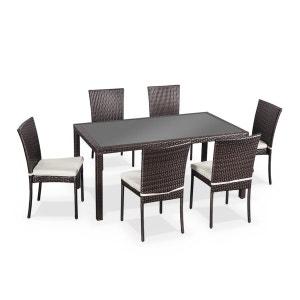 Salon de jardin en résine tressée 6 chaises, Chocolat, table d'extérieur design ALICE S GARDEN