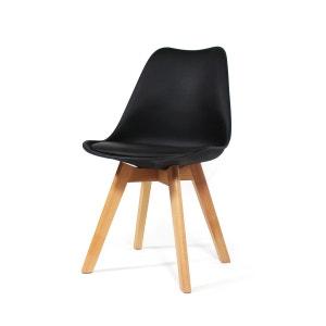 Chaise scandinave à coussin noire, piétement hêtre  |  MIA3 MADE IN MEUBLES