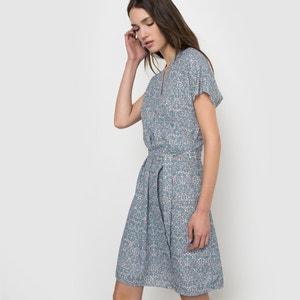 Vestido estampado con efecto cruzado, manga corta R essentiel