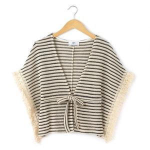 Striped Poncho-Style Jacket LE TEMPS DES CERISES
