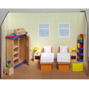 Maison de poupées : Mobilier chambre à coucher (lits séparés) GOKI