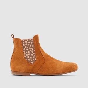 Boots in leer met bedrukte elastiek R essentiel