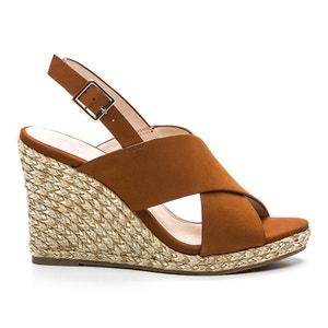 Heji Leather Wedge Heel Sandals COSMOPARIS