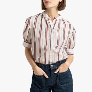 Gestreepte blouse met maokraag en korte mouwen
