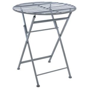 Table pliante en métal Niena - Diam. 60 cm - Gris ATMOSPHERA