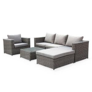 Salon de jardin table en résine tressée arrondie 5 places Romini canapé fauteuil ALICE S GARDEN