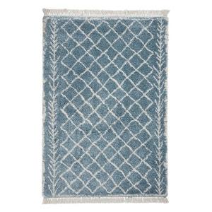 Fringed Berber Style Rug - Blue