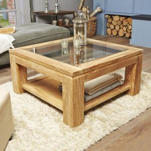 Table basse vitrée en bois de teck 80 cm BOIS DESSUS BOIS DESSOUS