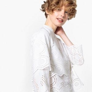 Chaqueta recta con cuello casaca y bordado inglés MADEMOISELLE R