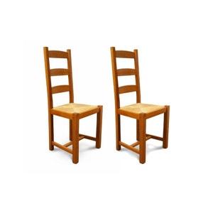 Lot de 2 Chaises en bois massif et assise paille Riga HELLIN, DEPUIS 1862
