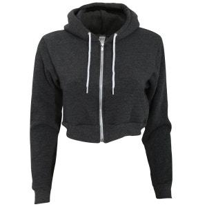 Flex - Sweatshirt à capuche et fermeture zippée raccourci - F AMERICAN APPAREL