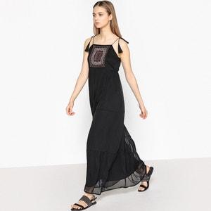 Vestido comprido, alças a atar, pérolas bordadas La Redoute Collections