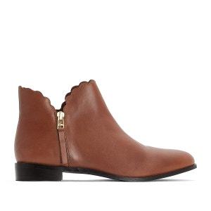 Boots in leer met gekartelde boord, brede voet 38-45