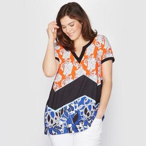 T shirt col V imprimé motif fleurs TAILLISSIME