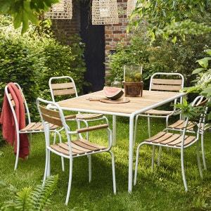 Salon de jardin en acacia et métal - Table + 4 chaises + 2 fauteuils BOIS DESSUS BOIS DESSOUS
