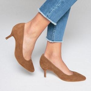 Туфли кожаные на среднем каблуке La Redoute Collections