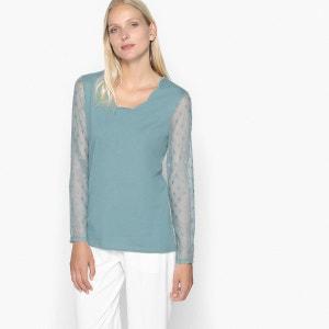 T-shirt bi-matière, résille brodée ANNE WEYBURN