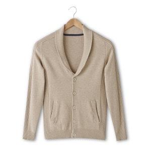 Chaqueta de punto abotonada con cuello chal 100% algodón La Redoute Collections