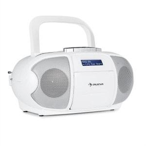 auna BeeBerry DAB Boombox Radio portable lecteur K7 USB CD MP3 FM DAB+ blanc AUNA