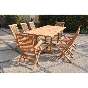 Kajang : Salon de jardin Teck massif 8 personnes - Table rectangulaire + 6 chaises + 2 fauteuils CONCEPT USINE