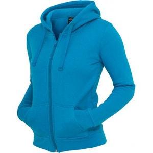 Sweat zippé URBAN CLASSICS Ladies Turquoise molleton à capuche URBAN CLASSICS