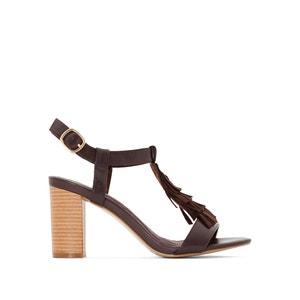 Sandálias com franjas, em pele ANNE WEYBURN