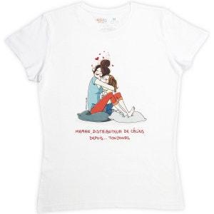 T-shirt femme blanc en coton Maman distributeur de câlins... RIGOLOBO